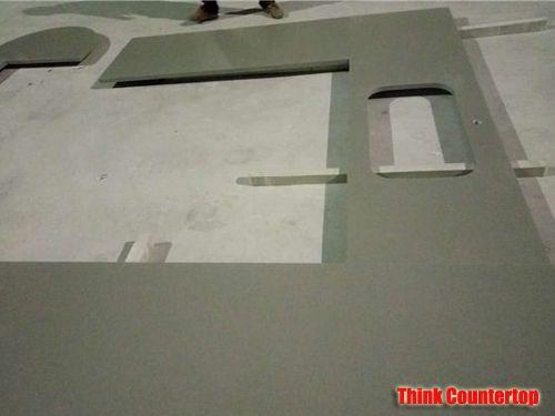 L Shaped Cemento Quartz Kitchen Countertops