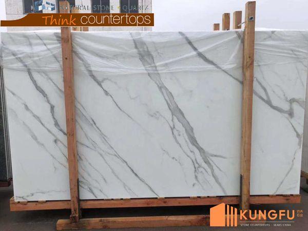 White Calacatta Marble Looks Crystallized Glass Slabs